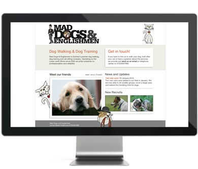 A screenshot of the Mad Dogs and Englishmen website. An example of bespoke website design by We Make Magazines