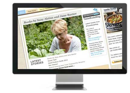 Screen shot of the Taste Buds website, an example of Bespoke Website designed by We Make Magazines